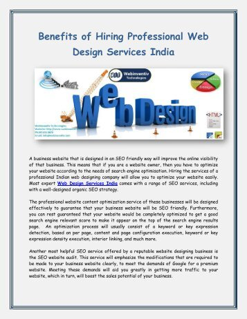 Benefits of Hiring Professional Web Design Services India