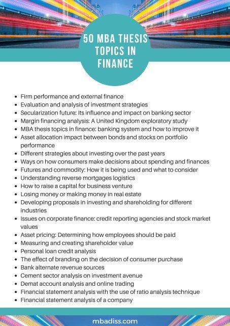 dissertation topics finance