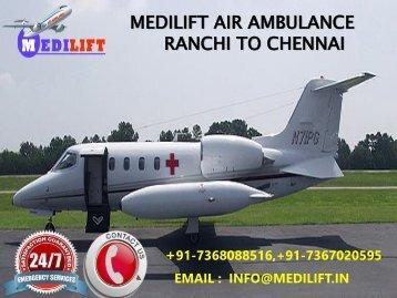 medilift air ranchi to delhi