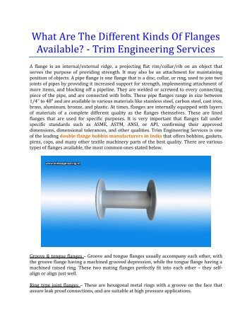 What Are The Different Kinds Of Flanges Available? - Trim Engineering Services