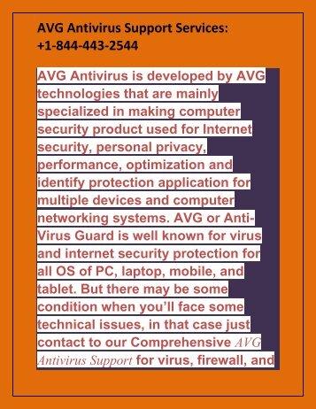 AVG Antivirus Support Services +1-844-443-2544