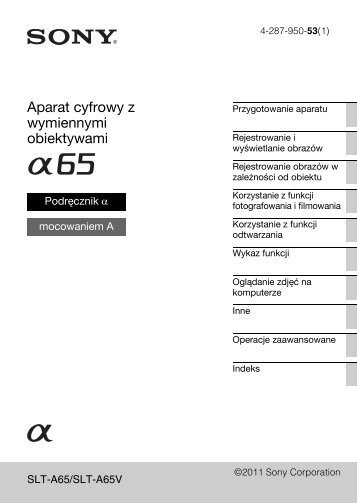 Sony SLT-A65M - SLT-A65M Consignes d'utilisation Polonais