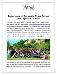 importance of corporate team outing in corporate culture