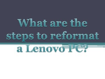 What are the steps to reformat a Lenovo PC