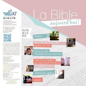LA BIBLE AUJOURD'HUI ! AVRIL-JUIN 2018