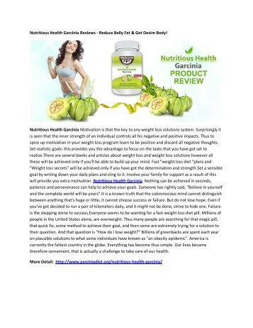 Nutritious Health Garcinia Pills - Weight Loss Pills To Get Rid of Excess Fat Quickly!