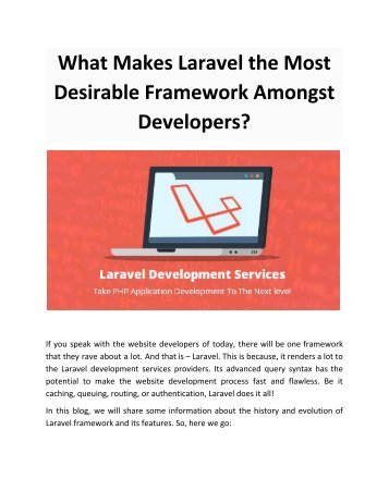 What Makes Laravel the Most Desirable Framework Amongst Developers
