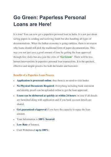 Go Green Paperless Personal Loan