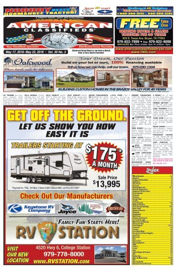 American Classifieds/Thrifty Nickel May 17th Edition Bryan/College Station