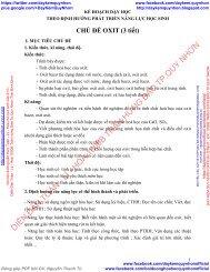KẾ HOẠCH DẠY HỌC THEO ĐỊNH HƯỚNG PHÁT TRIỂN NĂNG LỰC HỌC SINH CHỦ ĐỀ OXIT (3 TIẾT) & CHỦ ĐỀ KIM LOẠI (3 TIẾT) LỚP 9