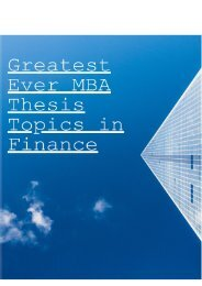 Greatest Ever MBA Thesis Topics in Finance