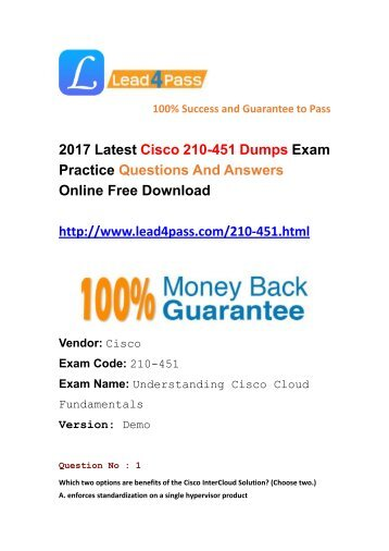 Lead4pass Latest Cisco 210-451 Dumps PDF Files