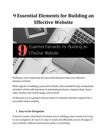 9 Essential Elements for Building an Effective Website