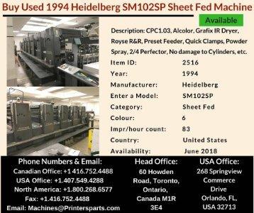 Buy Used 1994 SM102SP Heidelberg Printing Presses Machine