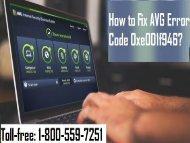 Dial 1-800-559-7251 to Fix AVG Error Code 0xe001f946