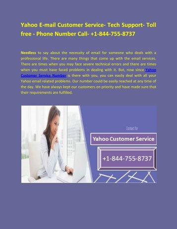 Yahoo Customer Service and Tech Support Phone Numbers
