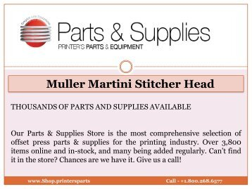 Muller Martini Stitcher Head - Shop.printersparts.com