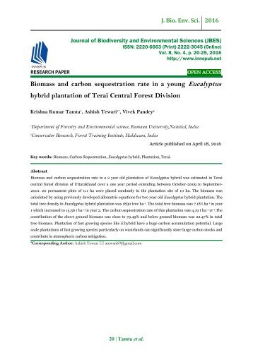 Biomass and carbon sequestration rate in a young Eucalyptus hybrid plantation of Terai Central Forest Division