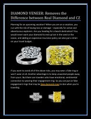 DIAMOND VENEER Removes the Difference between Real Diamond and CZ