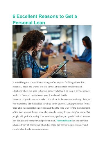 6 Excellent Reasons to Get a Personal Loan