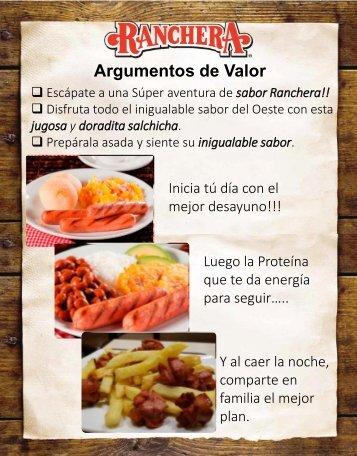 Argumentos de Valor Salchichas Ranchera_Agentes Comerciales Bogotá