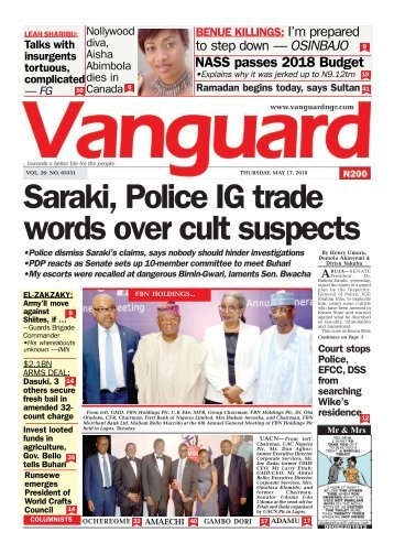 17052018 - Saraki, Police IG trade words over cult suspects