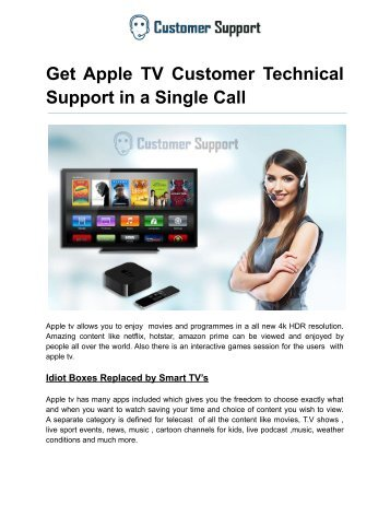 Get Apple TV Customer Technical Support in a Single Call