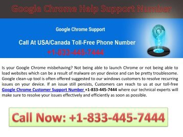 Our 24x7, Toll-free Google Chrome Technical Support Helpline +1-833-445-7444