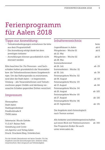 Ferienprogramm 2018