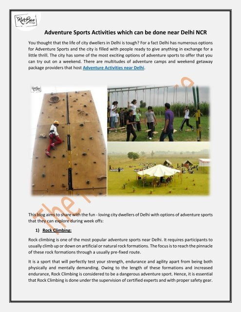 Adventure Sports Activities Near Delhi NCR with TheRurBanVillage