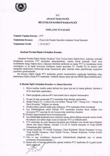 19.10.2017 PTT-Posta Çeki Hesabı Hacizleri-Akademi Portal Toplantı Tutanağı