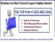 Dial our Window Live Customer Support Number +1-833-445-7444