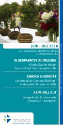 Veranstaltungsprogramm des Evangelischen Kirchenkreises Halle-Saalkreis für Juni und Juli 2018