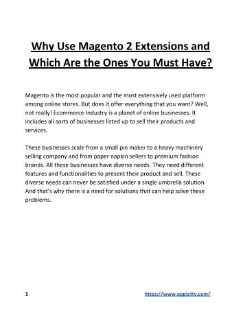 Why Use Magento 2 Extensions and Which Are the Ones You Must Have?