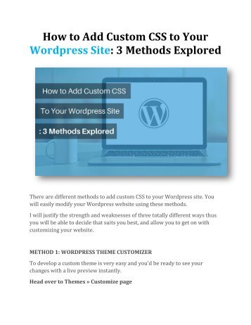 How to Add Custom CSS to Your Wordpress Site: 3 Methods Explored