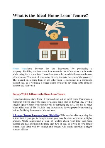 What is the Ideal Home Loan Tenure