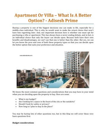 Apartment Or Villa – What Is A Better Option? - Adisesh Prime