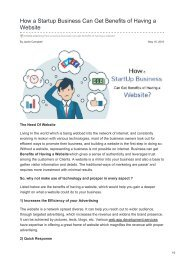 How a Startup Business Can Get Benefits of Having a Website
