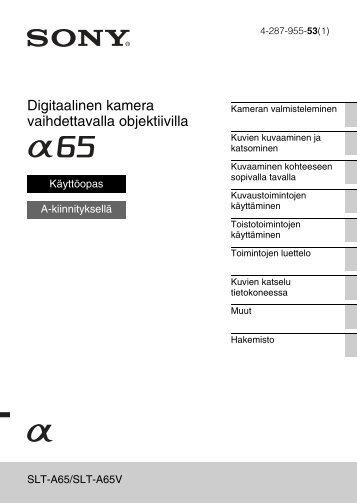 Sony SLT-A65VY - SLT-A65VY Consignes d'utilisation Finlandais