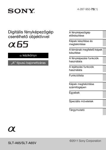 Sony SLT-A65VY - SLT-A65VY Consignes d'utilisation Hongrois