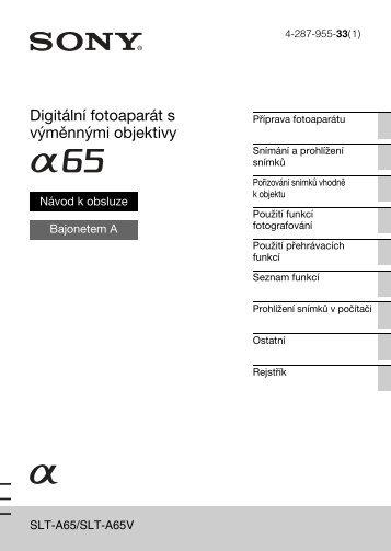 Sony SLT-A65VY - SLT-A65VY Consignes d'utilisation Tchèque