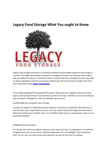 6 Legacy Food Storage What You Should Know