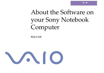Sony PCG-C1VE - PCG-C1VE Manuale software Inglese