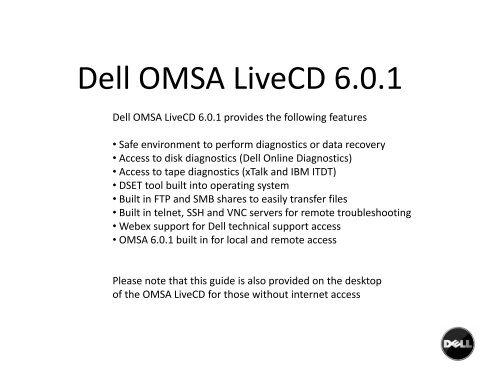 D llOMSALi CD601 Dell OMSA LiveCD 6 0 1 - Dell Linux