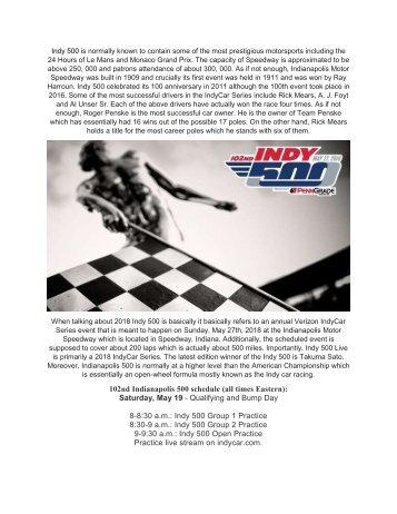 Indy 500 Live Stream 2018 Online
