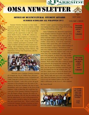 OMSA Newsletter - University of Wisconsin-Parkside!