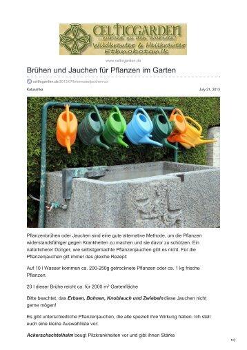 Brühen und Jauchen für Pflanzen im Garten
