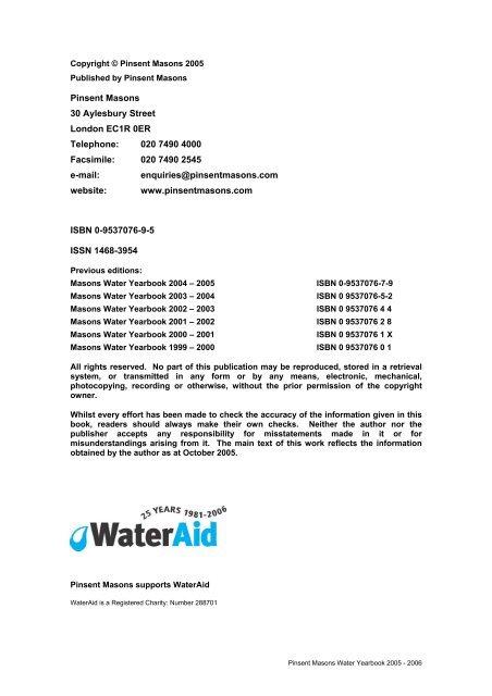 2005 - 2006 - Pinsent Masons Water Yearbook 2012
