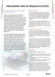Activités menées en 2005: Programme OMS de préqualification