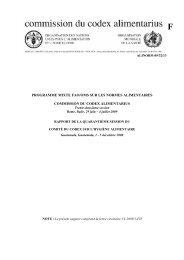 Programme Mixte FAO/OMS sur les Normes Alimentaires - CODEX ...